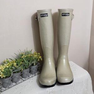 Cougar Light Silver Glitter Hunter Boots Women's